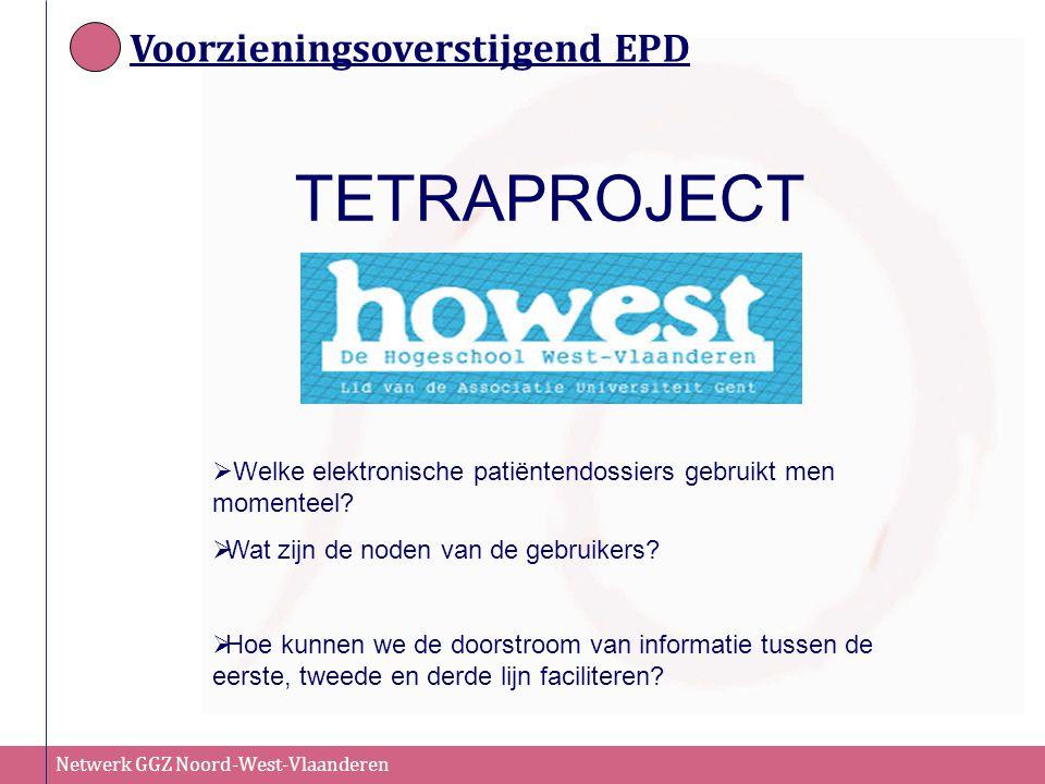 Netwerk GGZ Noord-West-Vlaanderen Voorzieningsoverstijgend EPD TETRAPROJECT  Welke elektronische patiëntendossiers gebruikt men momenteel?  Wat zijn