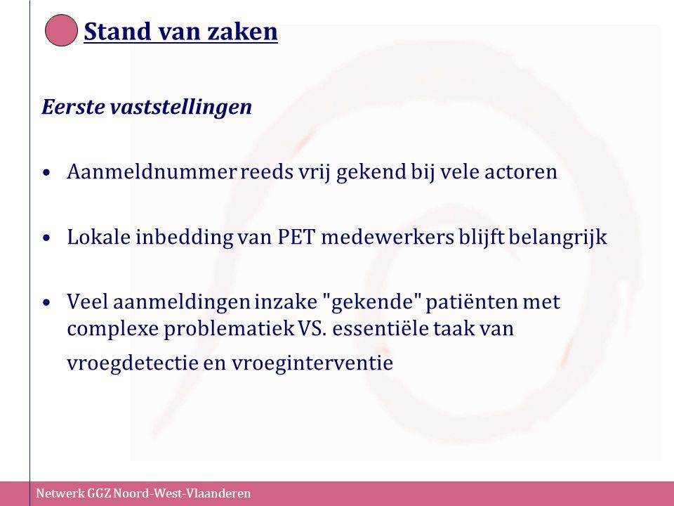 Netwerk GGZ Noord-West-Vlaanderen Stand van zaken Eerste vaststellingen Aanmeldnummer reeds vrij gekend bij vele actoren Lokale inbedding van PET mede