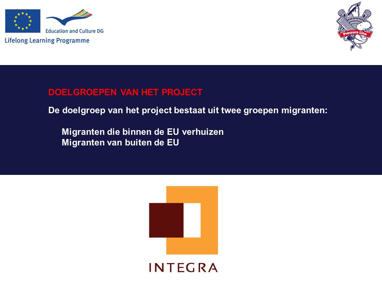 DOELGROEPEN VAN HET PROJECT De doelgroep van het project bestaat uit twee groepen migranten: Migranten die binnen de EU verhuizen Migranten van buiten de EU