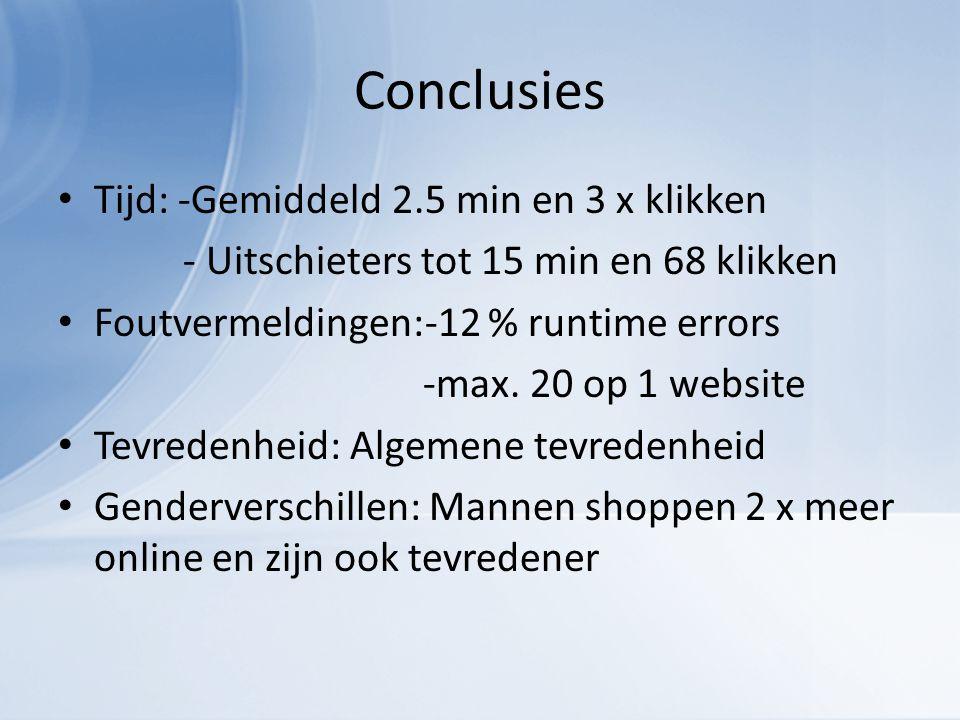 Conclusies Tijd: -Gemiddeld 2.5 min en 3 x klikken - Uitschieters tot 15 min en 68 klikken Foutvermeldingen:-12 % runtime errors -max.