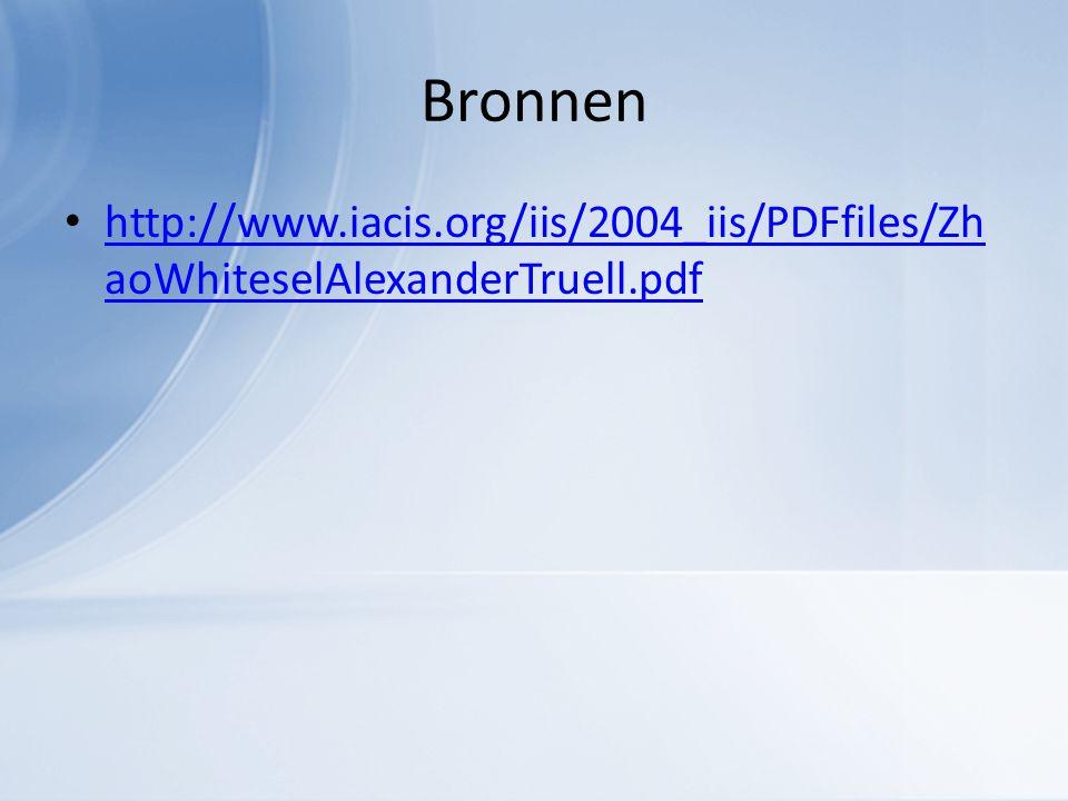 Bronnen http://www.iacis.org/iis/2004_iis/PDFfiles/Zh aoWhiteselAlexanderTruell.pdf http://www.iacis.org/iis/2004_iis/PDFfiles/Zh aoWhiteselAlexanderTruell.pdf