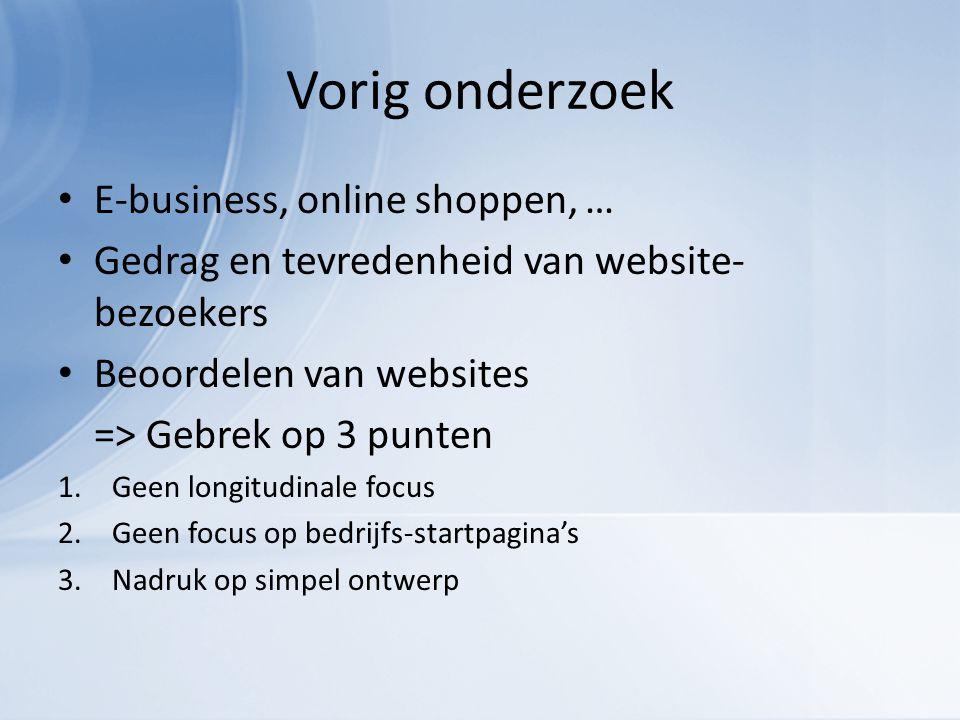 Vorig onderzoek E-business, online shoppen, … Gedrag en tevredenheid van website- bezoekers Beoordelen van websites => Gebrek op 3 punten 1.Geen longitudinale focus 2.Geen focus op bedrijfs-startpagina's 3.Nadruk op simpel ontwerp