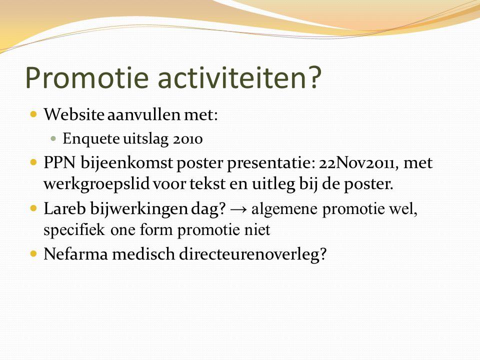 Promotie activiteiten? Website aanvullen met: Enquete uitslag 2010 PPN bijeenkomst poster presentatie: 22Nov2011, met werkgroepslid voor tekst en uitl