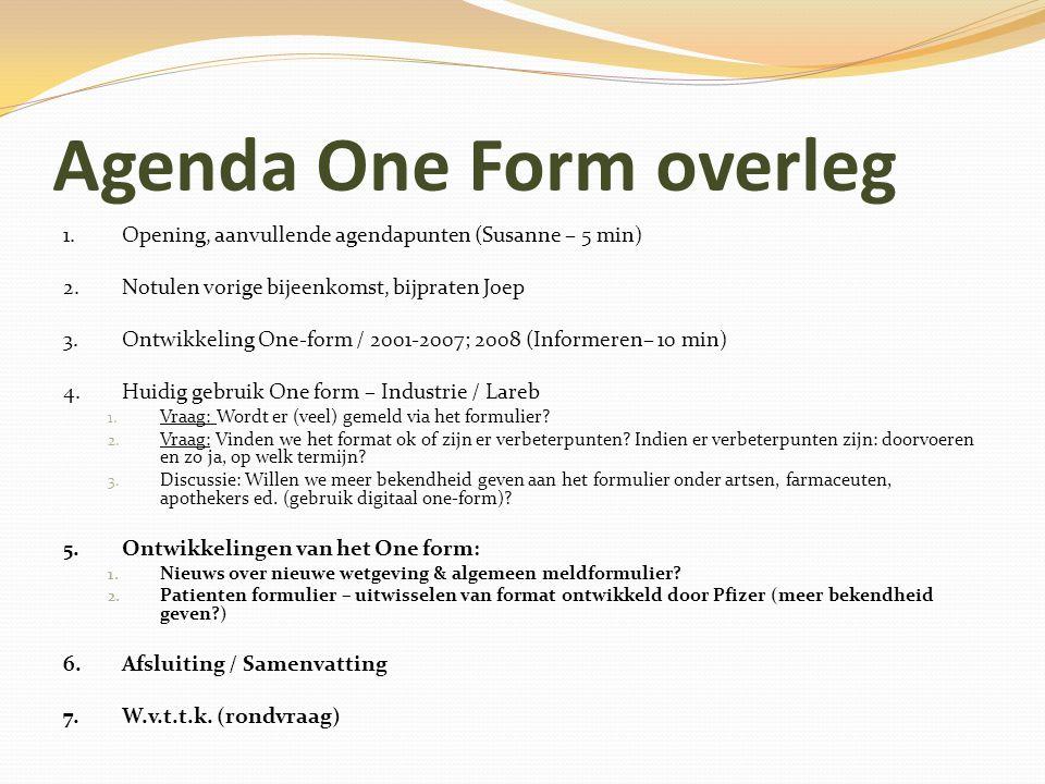 Agenda One Form overleg 1. Opening, aanvullende agendapunten (Susanne – 5 min) 2.Notulen vorige bijeenkomst, bijpraten Joep 3. Ontwikkeling One-form /