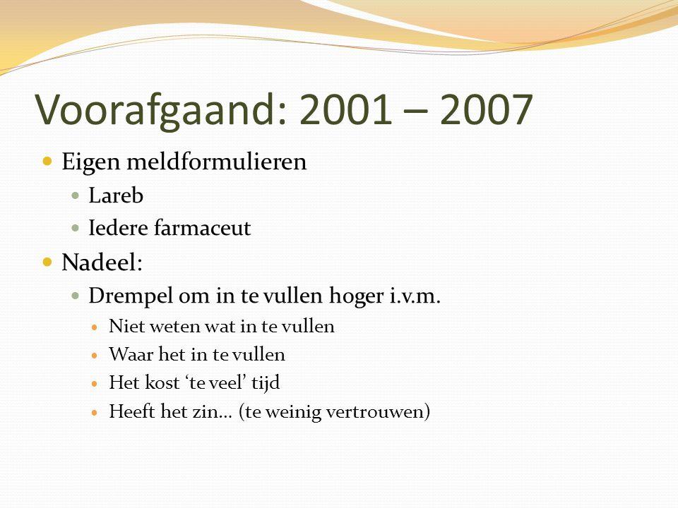 Voorafgaand: 2001 – 2007 Eigen meldformulieren Lareb Iedere farmaceut Nadeel: Drempel om in te vullen hoger i.v.m. Niet weten wat in te vullen Waar he