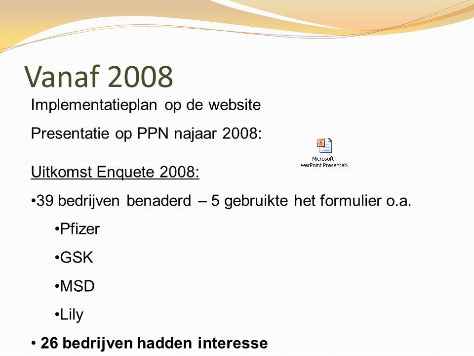 Vanaf 2008 Uitkomst Enquete 2008: 39 bedrijven benaderd – 5 gebruikte het formulier o.a. Pfizer GSK MSD Lily 26 bedrijven hadden interesse Implementat