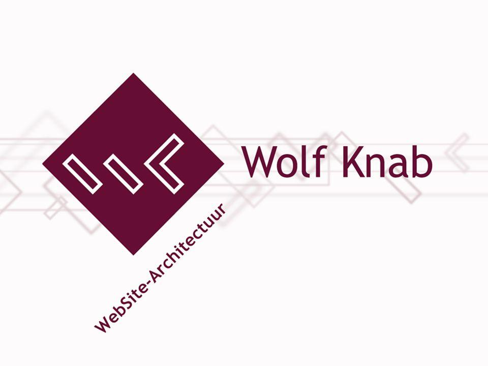 © 2008 Wolf Knab Websitearchitectuur, www.wolfknab.nl21 Onze historie Los van de bedrijfsvoering Geïntegreerd in de bedrijfsvoering Producentcentraal Klantcentraal Online enquête Webshop Hyves Onze historie Onze missie Google Startpagina