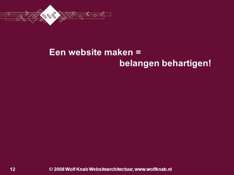 © 2008 Wolf Knab Websitearchitectuur, www.wolfknab.nl11