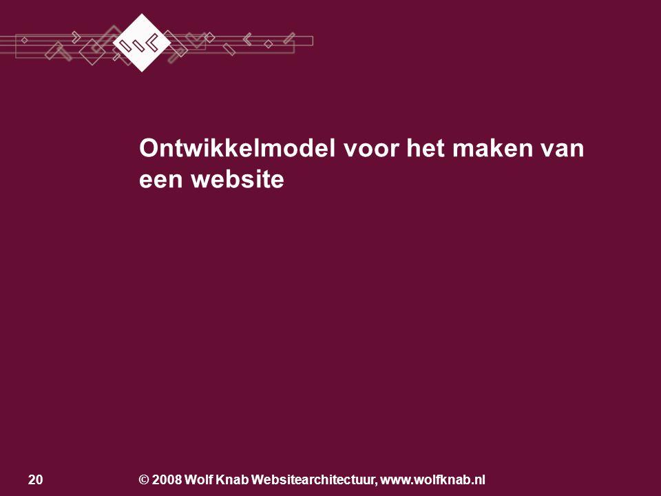 © 2008 Wolf Knab Websitearchitectuur, www.wolfknab.nl19 Aandachtsgebieden Vormgeving Functionaliteit Inhoud Promotie Onderhoud –Inhoud aanvullen –Evalueren en verbeteren (na de pauze)