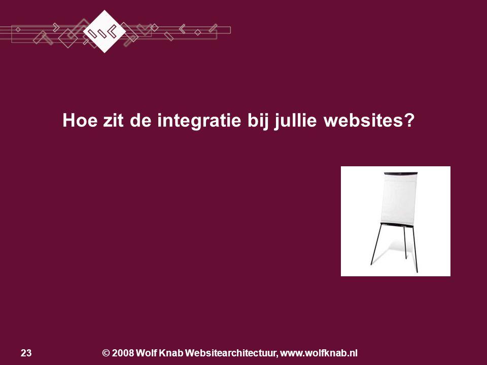 © 2008 Wolf Knab Websitearchitectuur, www.wolfknab.nl22 Los van de bedrijfsvoering Producentcentraal Klantcentraal Geïntegreerd in de bedrijfsvoering