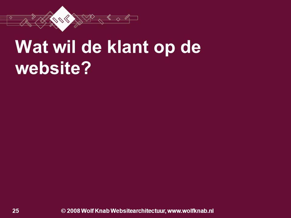 © 2008 Wolf Knab Websitearchitectuur, www.wolfknab.nl24 Los van de bedrijfsvoering Producentcentraal Klantcentraal Geïntegreerd in de bedrijfsvoering