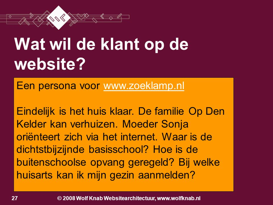 © 2008 Wolf Knab Websitearchitectuur, www.wolfknab.nl26 Wat wil de klant op de website? Wie is de klant? Do you know who I am?Do you know who I am? We