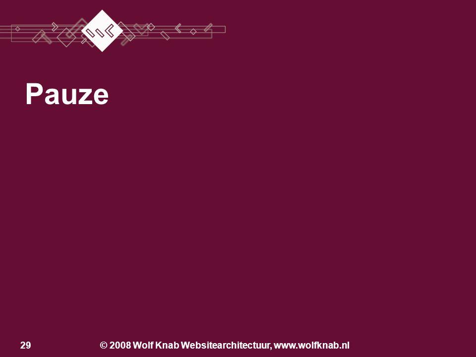 © 2008 Wolf Knab Websitearchitectuur, www.wolfknab.nl28 Wat wil de klant op de website? Wie is de klant? Werken met personas Customar Fundamentals: –D