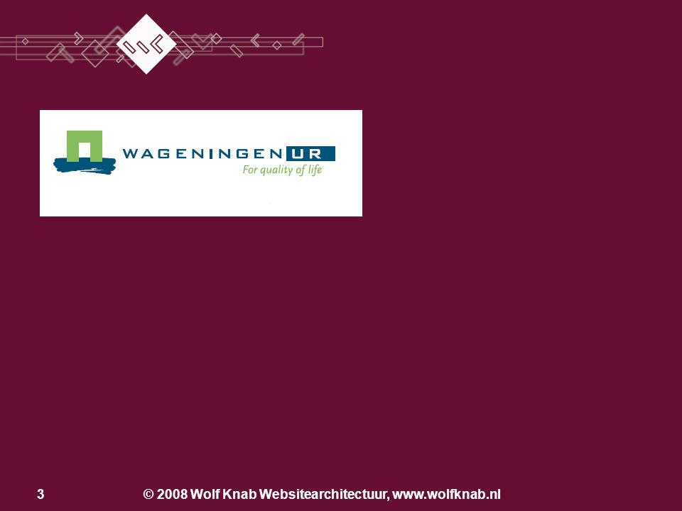 2 De veelzijdigheid van Designmanagement Wolf Knab Website-architectuur Irenelaan 4 6721 EA Bennekom 06 38 89 89 94 w.knab@wolfknab.nl