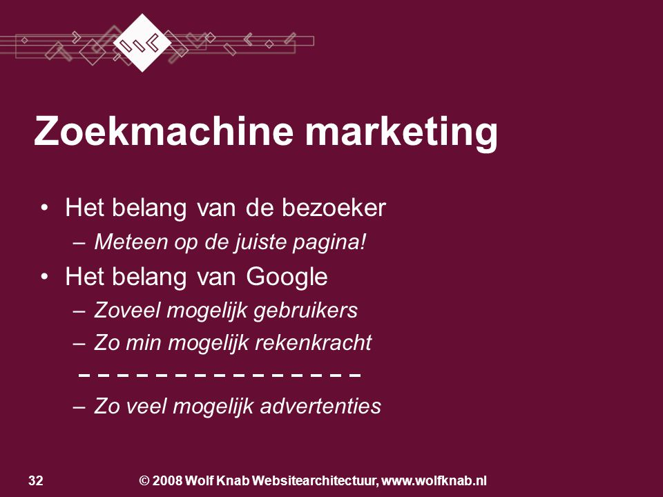 © 2008 Wolf Knab Websitearchitectuur, www.wolfknab.nl31 Zoekmachine marketing