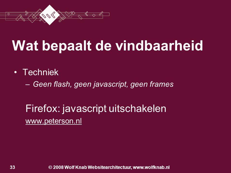 © 2008 Wolf Knab Websitearchitectuur, www.wolfknab.nl32 Het belang van de bezoeker –Meteen op de juiste pagina! Het belang van Google –Zoveel mogelijk