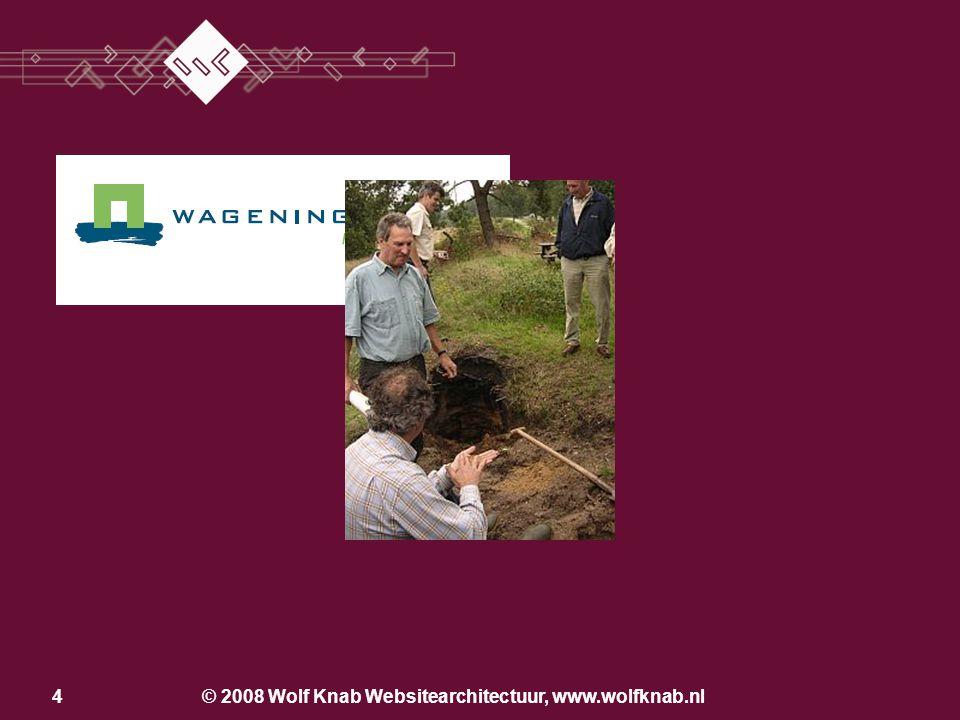 © 2008 Wolf Knab Websitearchitectuur, www.wolfknab.nl24 Los van de bedrijfsvoering Producentcentraal Klantcentraal Geïntegreerd in de bedrijfsvoering Einde 2e stap