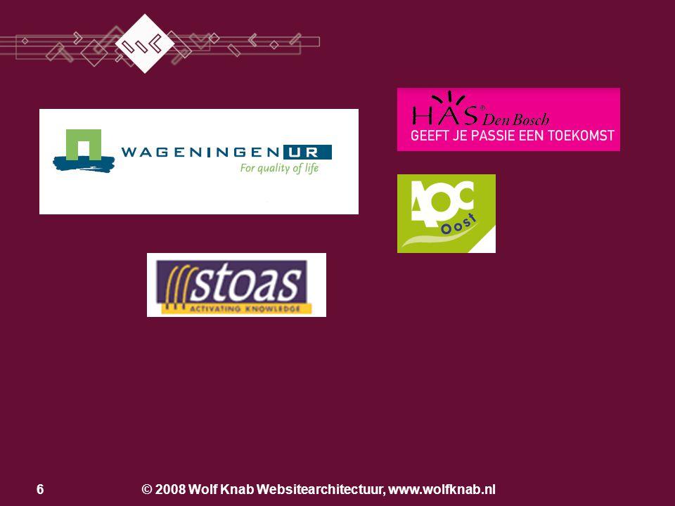 © 2008 Wolf Knab Websitearchitectuur, www.wolfknab.nl36 Techniek Anciënniteit PageRank Inhoud –Zoekwoorden per product – dienst combinatie –url, metatags, pagina inhoud (H1 tags) www.uvcutrecht.nl Wat bepaalt de vindbaarheid