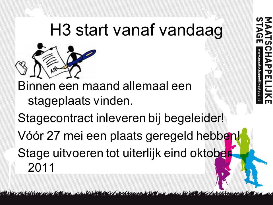 H3 start vanaf vandaag Binnen een maand allemaal een stageplaats vinden.