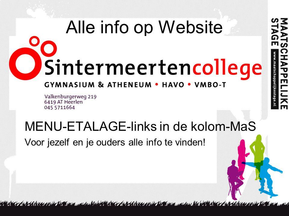 Alle info op Website MENU-ETALAGE-links in de kolom-MaS Voor jezelf en je ouders alle info te vinden!