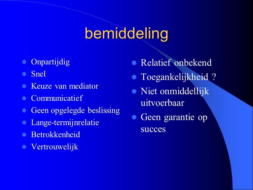 bemiddeling Onpartijdig Snel Keuze van mediator Communicatief Geen opgelegde beslissing Lange-termijnrelatie Betrokkenheid Vertrouwelijk Relatief onbekend Toegankelijkheid .