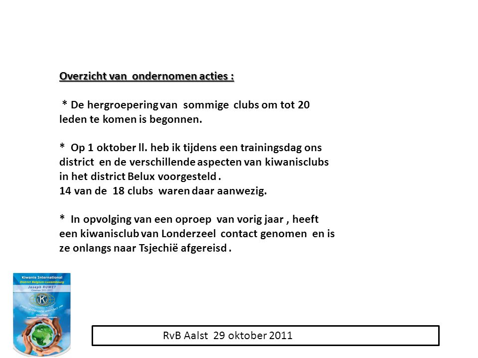 RvB Aalst 29 oktober 2011 Overzicht van ondernomen acties : * De hergroepering van sommige clubs om tot 20 leden te komen is begonnen.