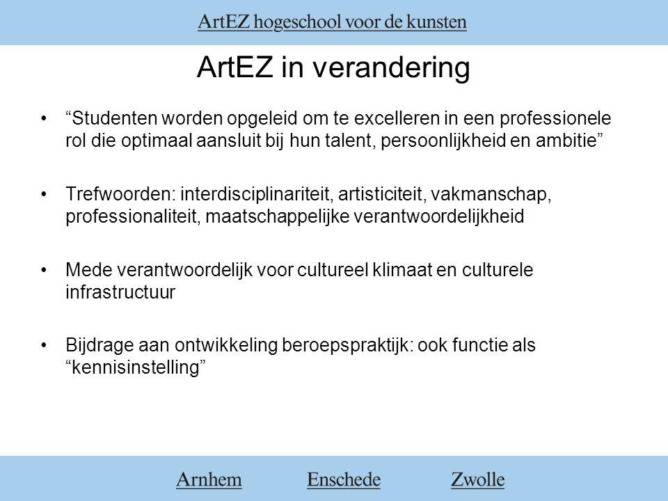"""ArtEZ in verandering """"Studenten worden opgeleid om te excelleren in een professionele rol die optimaal aansluit bij hun talent, persoonlijkheid en amb"""