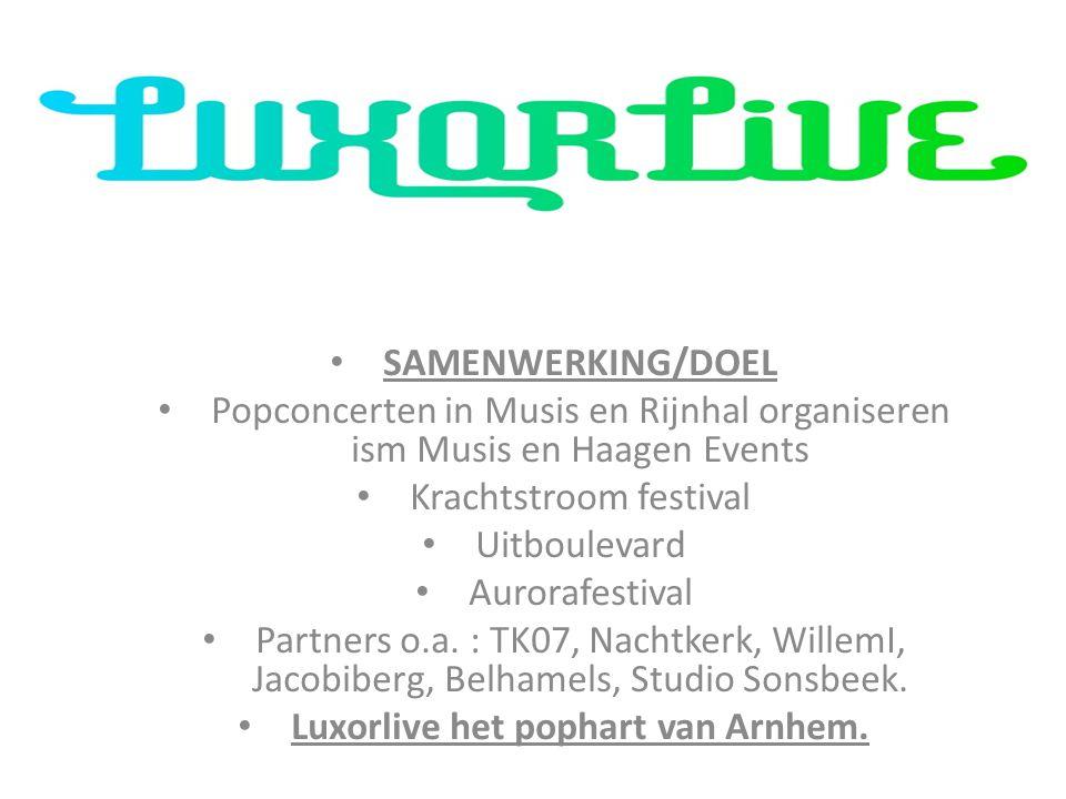 SAMENWERKING/DOEL Popconcerten in Musis en Rijnhal organiseren ism Musis en Haagen Events Krachtstroom festival Uitboulevard Aurorafestival Partners o.a.