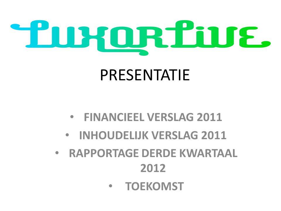 PRESENTATIE FINANCIEEL VERSLAG 2011 INHOUDELIJK VERSLAG 2011 RAPPORTAGE DERDE KWARTAAL 2012 TOEKOMST