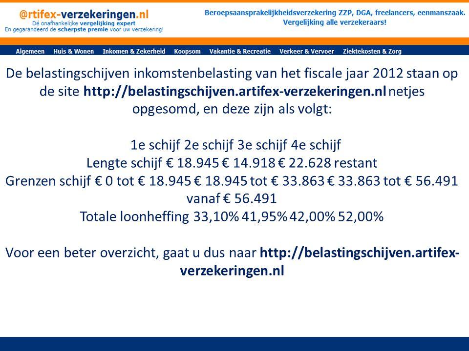 De belastingschijven inkomstenbelasting van het fiscale jaar 2012 staan op de site http://belastingschijven.artifex-verzekeringen.nl netjes opgesomd, en deze zijn als volgt: 1e schijf 2e schijf 3e schijf 4e schijf Lengte schijf € 18.945 € 14.918 € 22.628 restant Grenzen schijf € 0 tot € 18.945 € 18.945 tot € 33.863 € 33.863 tot € 56.491 vanaf € 56.491 Totale loonheffing 33,10% 41,95% 42,00% 52,00% Voor een beter overzicht, gaat u dus naar http://belastingschijven.artifex- verzekeringen.nl