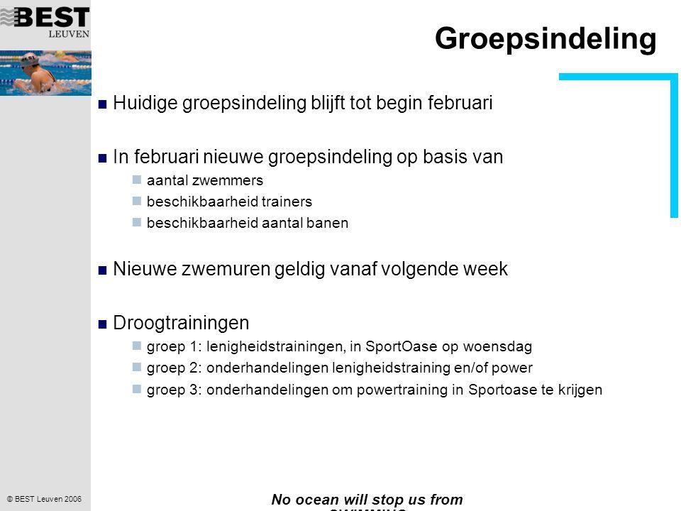 © BEST Leuven 2006 No ocean will stop us from SWIMMING Groepsindeling Huidige groepsindeling blijft tot begin februari In februari nieuwe groepsindeli