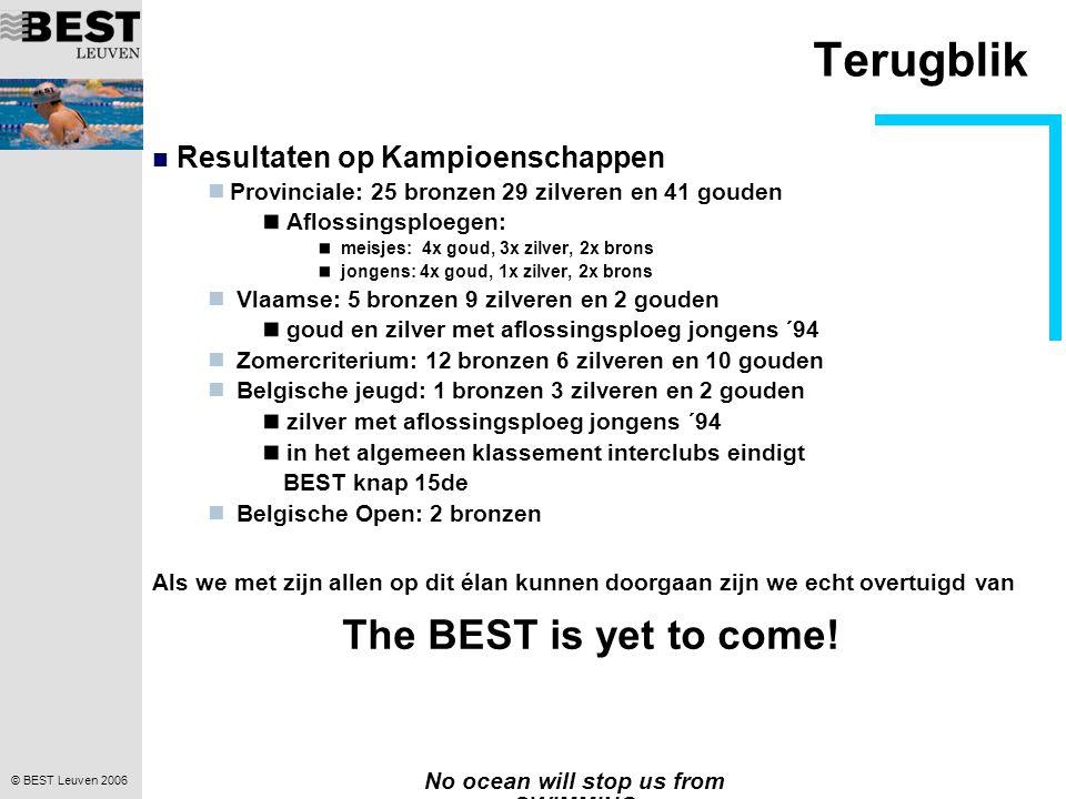 © BEST Leuven 2006 No ocean will stop us from SWIMMING Terugblik 02.08.06 Hofstade: 17 persoonlijke BEST tijden 08.08.06 Leuven: de wedstrijd BEST recordpogingen 4 provinciale records 22 BEST tijden Volgens de The Flemish Swimming Portal De derde beste wedstrijd all time... .De derde beste wedstrijd all time..