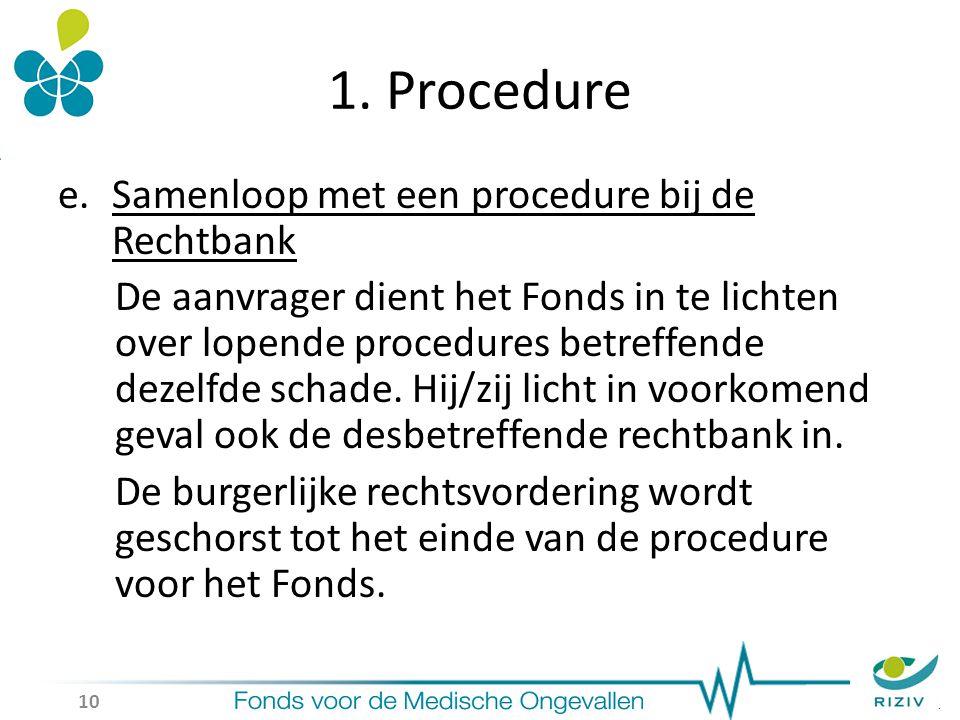1. Procedure e.Samenloop met een procedure bij de Rechtbank De aanvrager dient het Fonds in te lichten over lopende procedures betreffende dezelfde sc