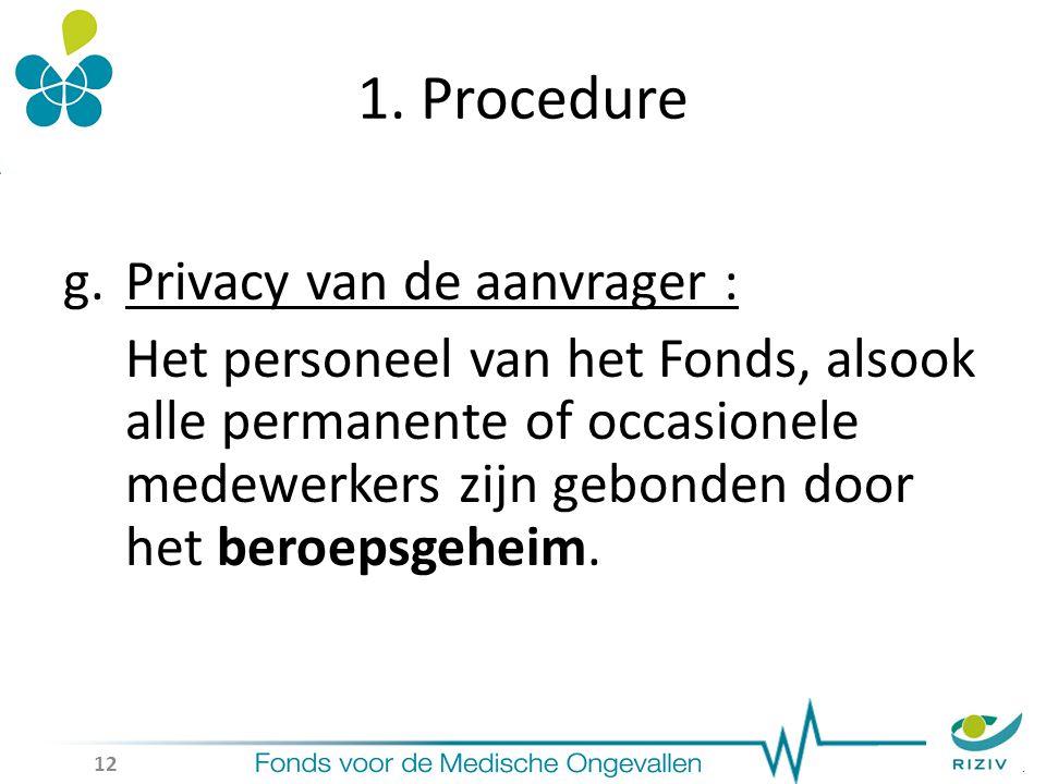 1. Procedure g.Privacy van de aanvrager : Het personeel van het Fonds, alsook alle permanente of occasionele medewerkers zijn gebonden door het beroep