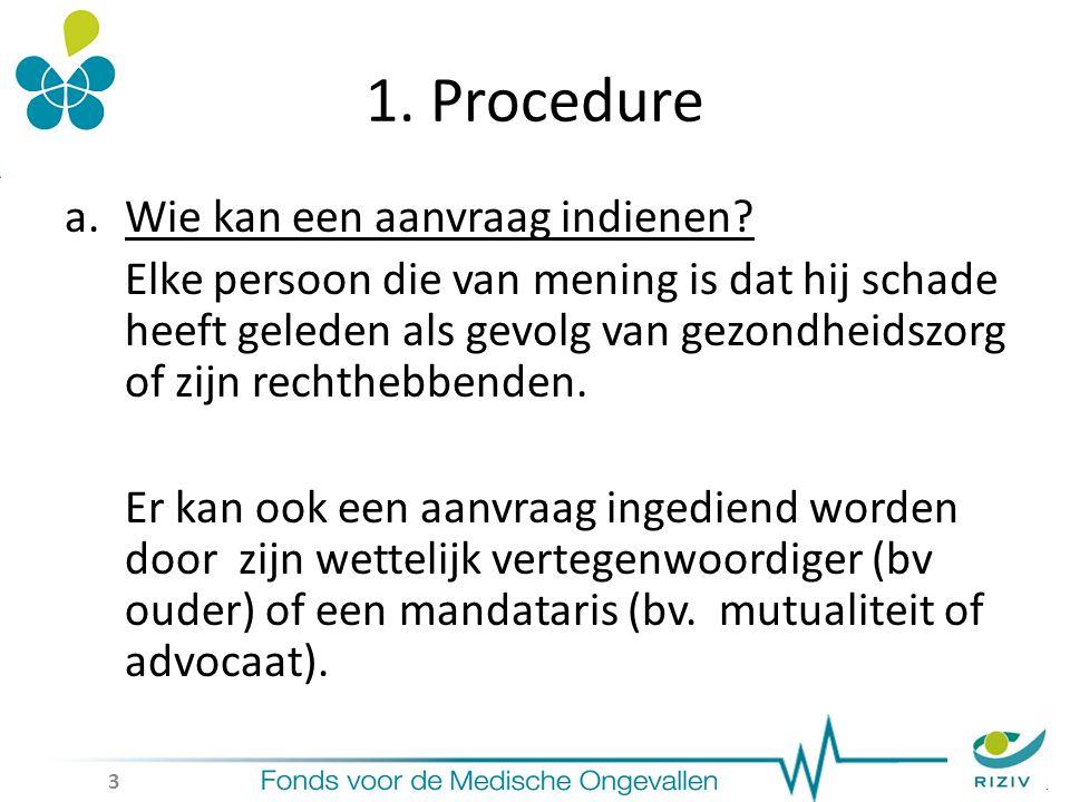 1. Procedure a.Wie kan een aanvraag indienen.