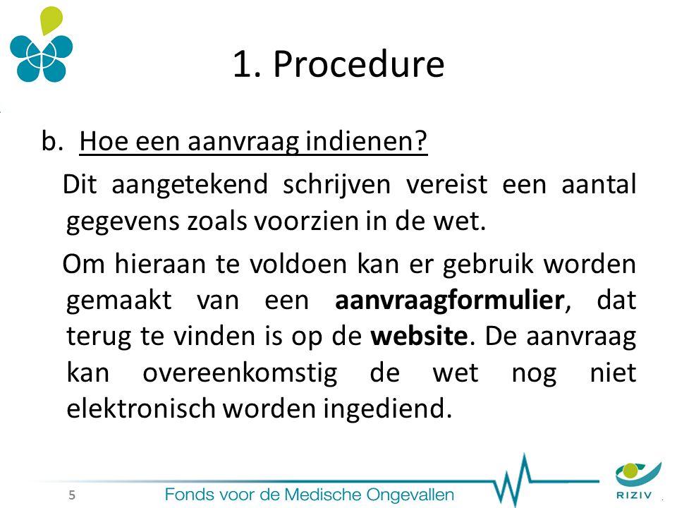 1. Procedure b.Hoe een aanvraag indienen.