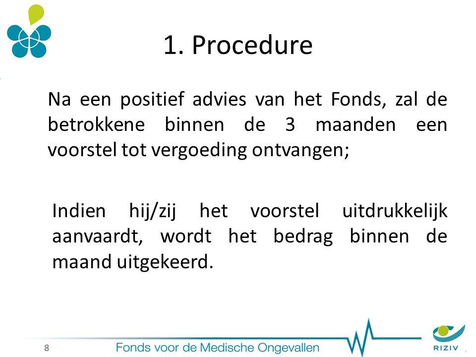 1. Procedure Na een positief advies van het Fonds, zal de betrokkene binnen de 3 maanden een voorstel tot vergoeding ontvangen; Indien hij/zij het voo
