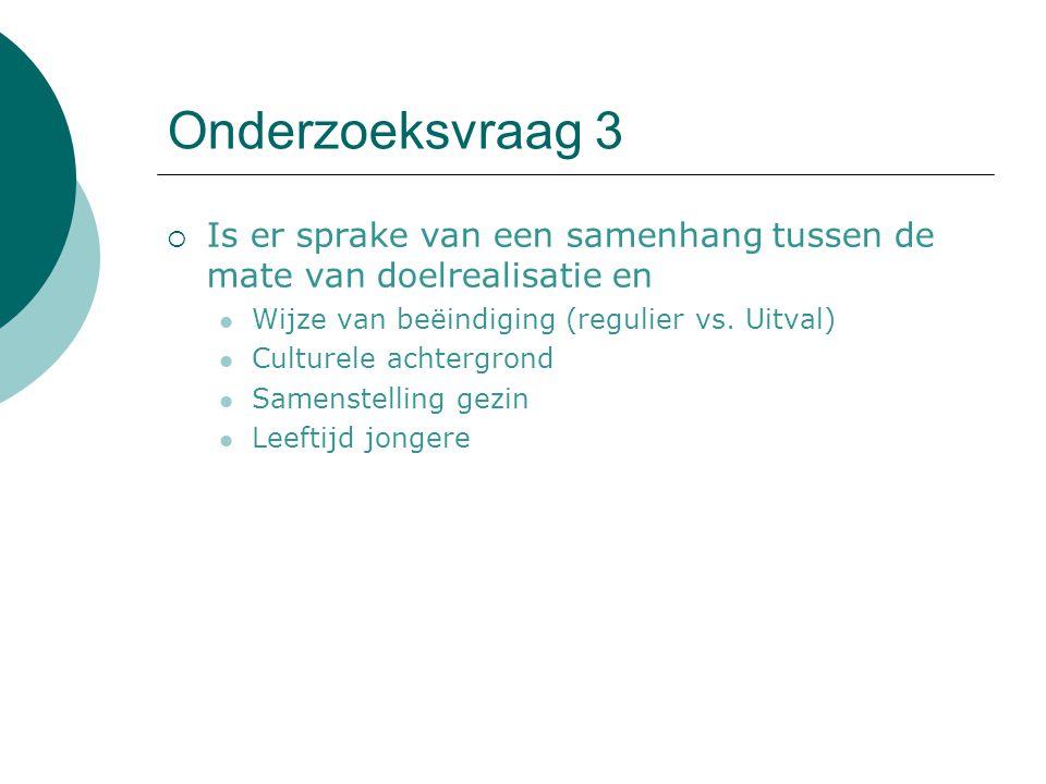 Onderzoeksvraag 3  Is er sprake van een samenhang tussen de mate van doelrealisatie en Wijze van beëindiging (regulier vs. Uitval) Culturele achtergr