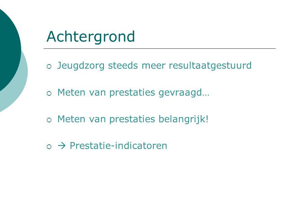 Huidige onderzoek  Trede 3 ladder van Veerman: Doeltreffendheid Practice-based-evidence  Vier indicatoren (drie prestatie-indicatoren) 1.