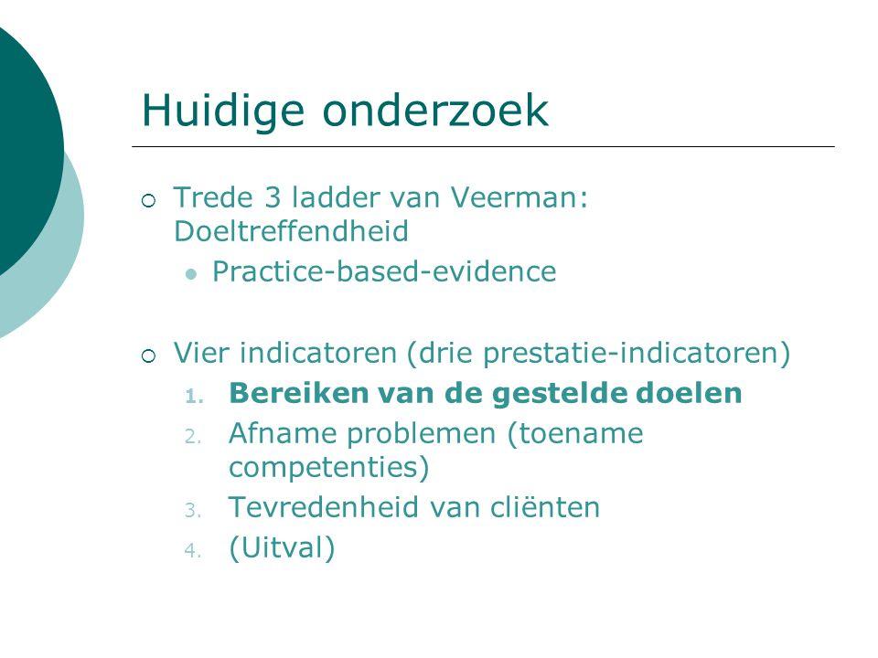 Huidige onderzoek  Trede 3 ladder van Veerman: Doeltreffendheid Practice-based-evidence  Vier indicatoren (drie prestatie-indicatoren) 1. Bereiken v
