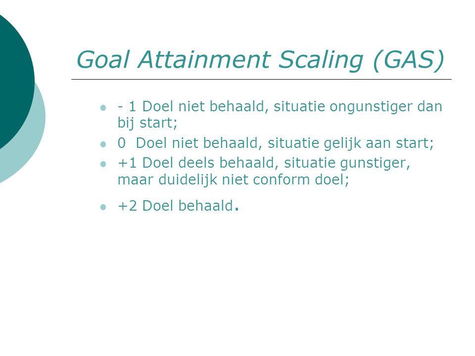 Goal Attainment Scaling (GAS) - 1 Doel niet behaald, situatie ongunstiger dan bij start; 0 Doel niet behaald, situatie gelijk aan start; +1 Doel deels