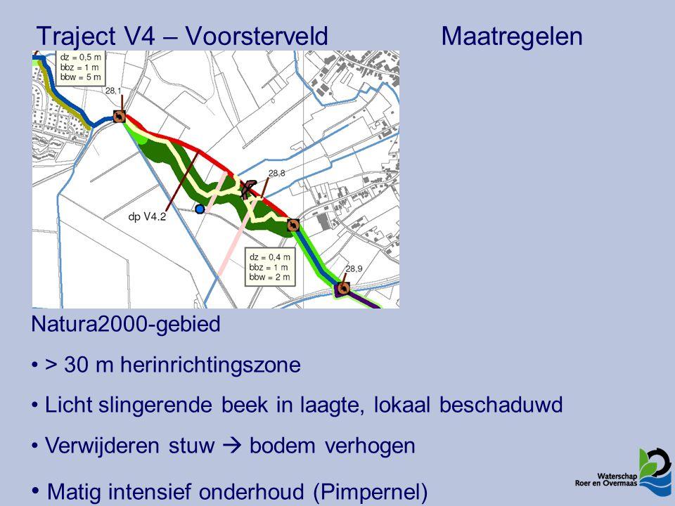 Traject V4 – VoorsterveldMaatregelen Natura2000-gebied > 30 m herinrichtingszone Licht slingerende beek in laagte, lokaal beschaduwd Verwijderen stuw  bodem verhogen Matig intensief onderhoud (Pimpernel)