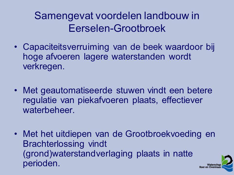 Samengevat voordelen landbouw in Eerselen-Grootbroek Capaciteitsverruiming van de beek waardoor bij hoge afvoeren lagere waterstanden wordt verkregen.
