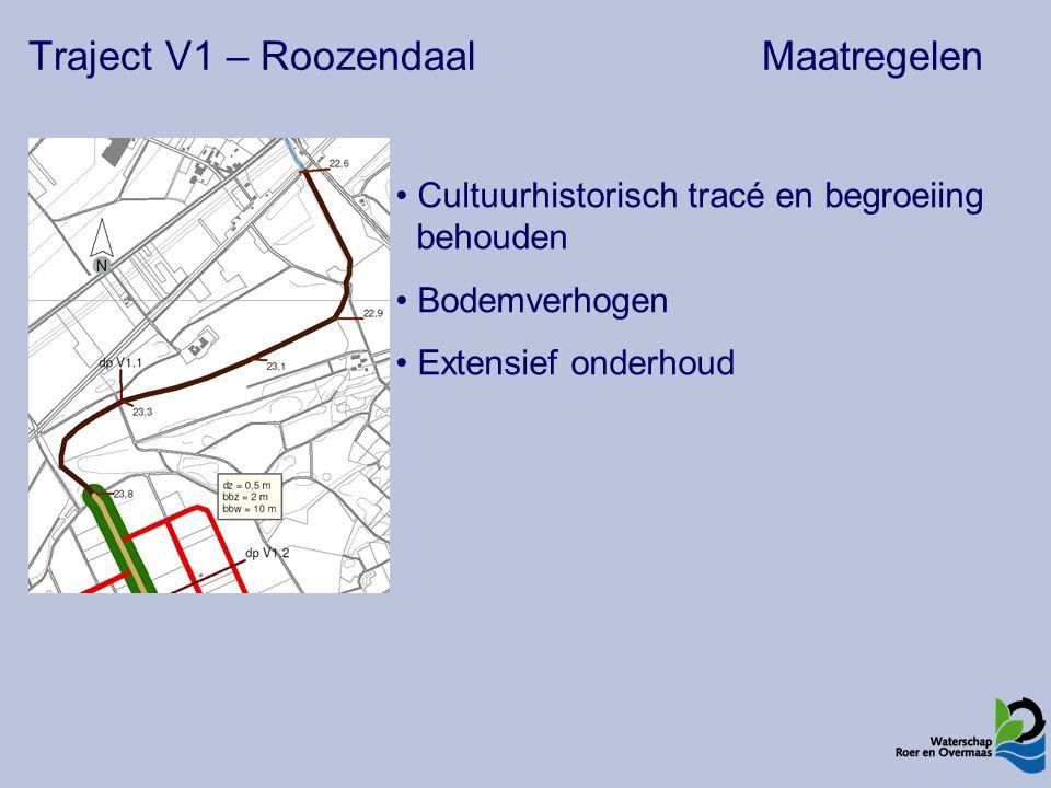 Traject V1 – Roozendaal Maatregelen Cultuurhistorisch tracé en begroeiing behouden Bodemverhogen Extensief onderhoud