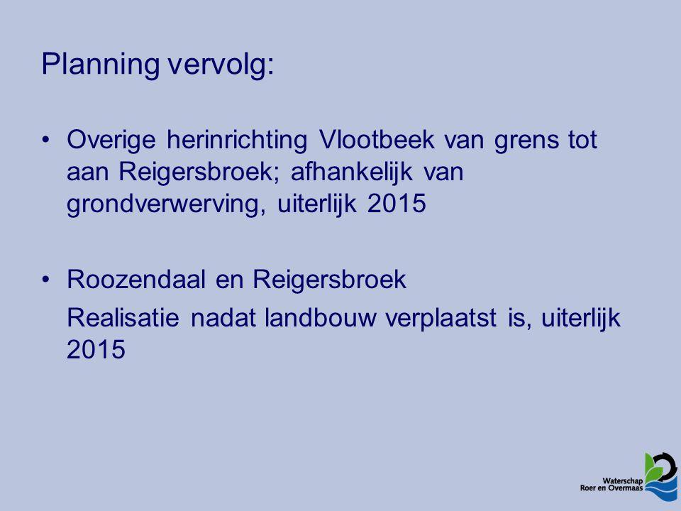 Planning vervolg: Overige herinrichting Vlootbeek van grens tot aan Reigersbroek; afhankelijk van grondverwerving, uiterlijk 2015 Roozendaal en Reigersbroek Realisatie nadat landbouw verplaatst is, uiterlijk 2015