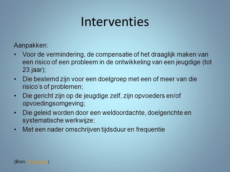 Interventies Aanpakken: Voor de vermindering, de compensatie of het draaglijk maken van een risico of een probleem in de ontwikkeling van een jeugdige
