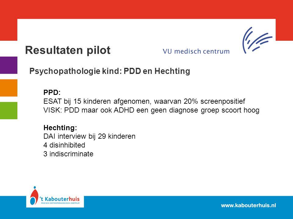 Resultaten pilot Psychopathologie kind: PDD en Hechting PPD: ESAT bij 15 kinderen afgenomen, waarvan 20% screenpositief VISK: PDD maar ook ADHD een ge