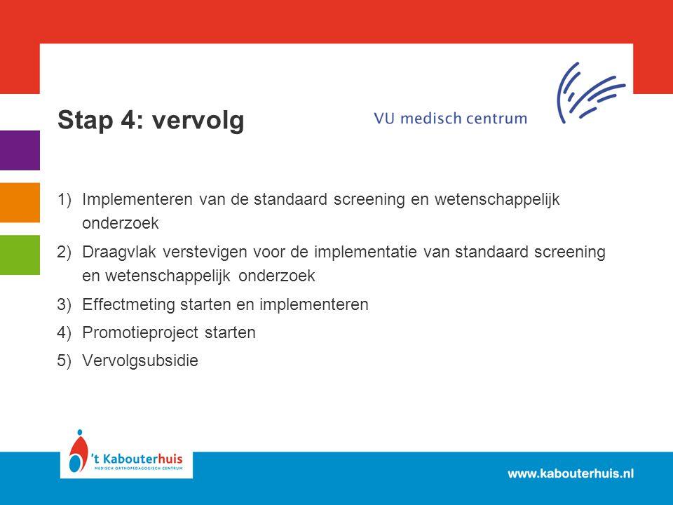Stap 4: vervolg 1)Implementeren van de standaard screening en wetenschappelijk onderzoek 2)Draagvlak verstevigen voor de implementatie van standaard s