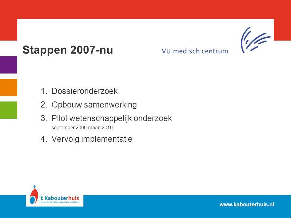 Stappen 2007-nu 1.Dossieronderzoek 2.Opbouw samenwerking 3.Pilot wetenschappelijk onderzoek september 2009-maart 2010 4.Vervolg implementatie