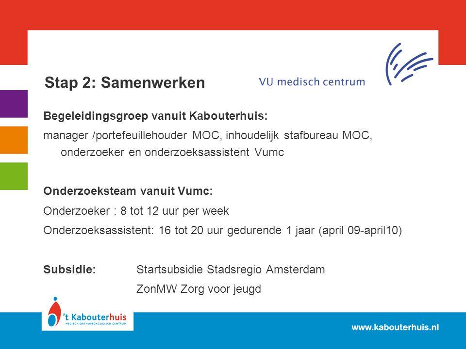Stap 2: Samenwerken Begeleidingsgroep vanuit Kabouterhuis: manager /portefeuillehouder MOC, inhoudelijk stafbureau MOC, onderzoeker en onderzoeksassis